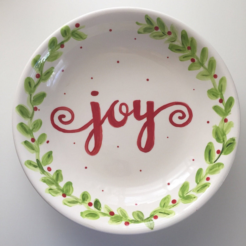 Hand Painted Christmas Serving Bowl