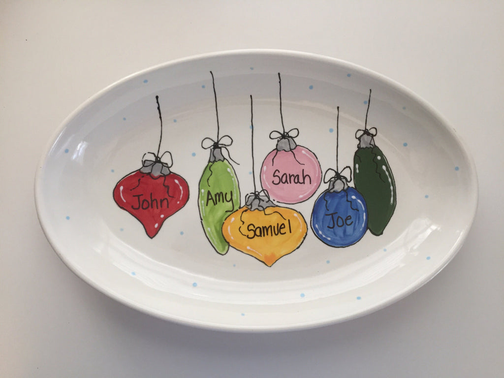 Large Personalized Christmas Ornament Platter