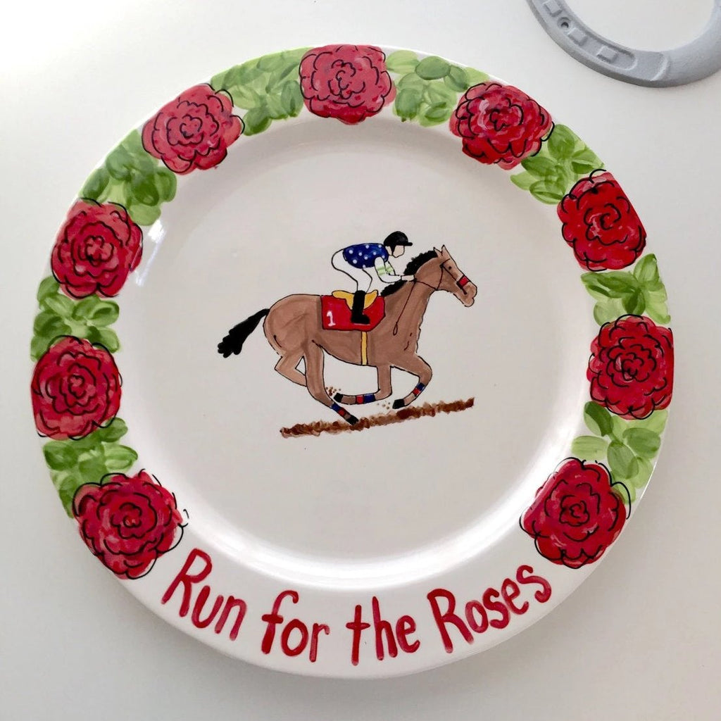 Run for the roses horse racing platter with roses