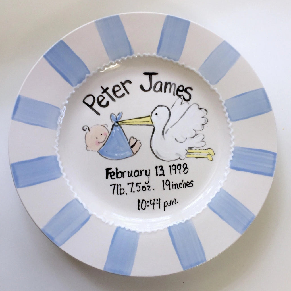Personalized Baby Birth Announcement Plate