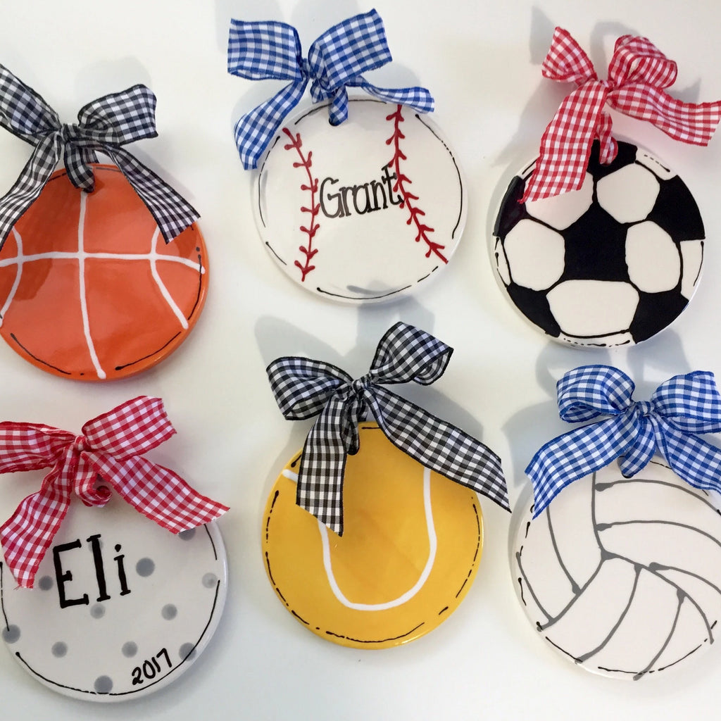 Personalized sports ball ornament