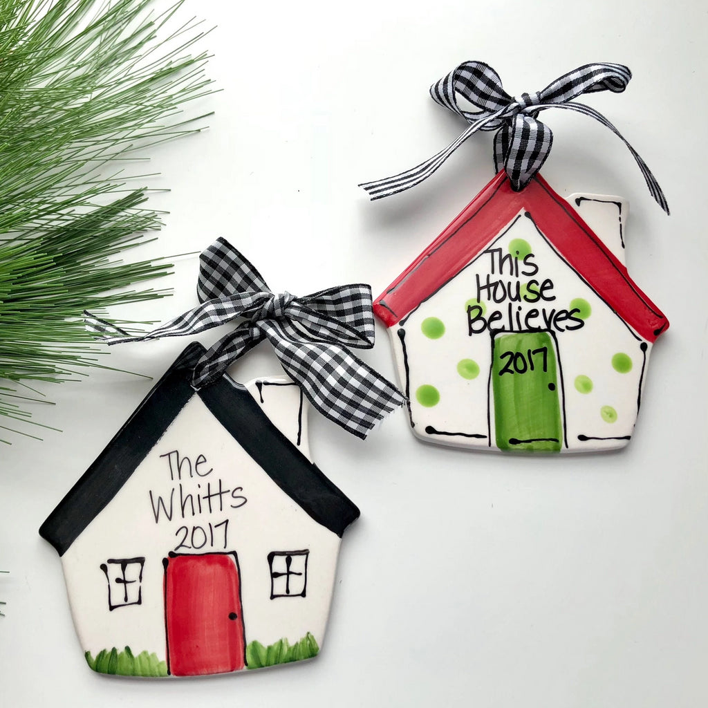 Hand Painted Ceramic House Ornament