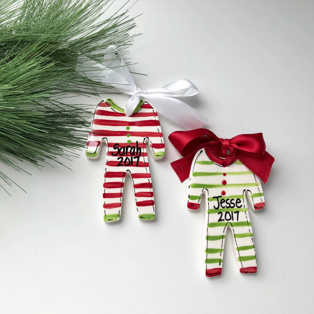 Striped pajamas Christmas ornament