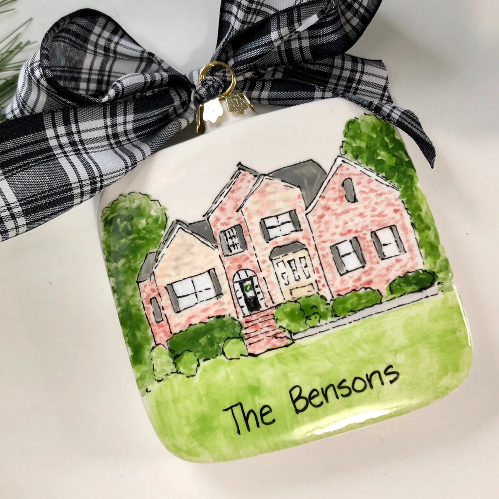 Custom illustrated house ornament