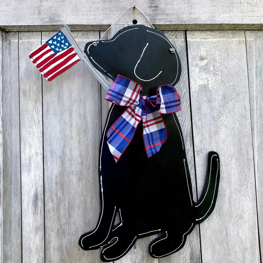 Wood Labrador Dog Door Hanger With American Flag and Ribbon