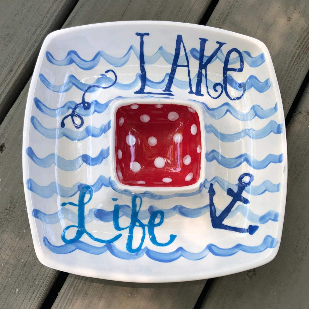 Lake Life Wave Pattern Chip and Dip Platter