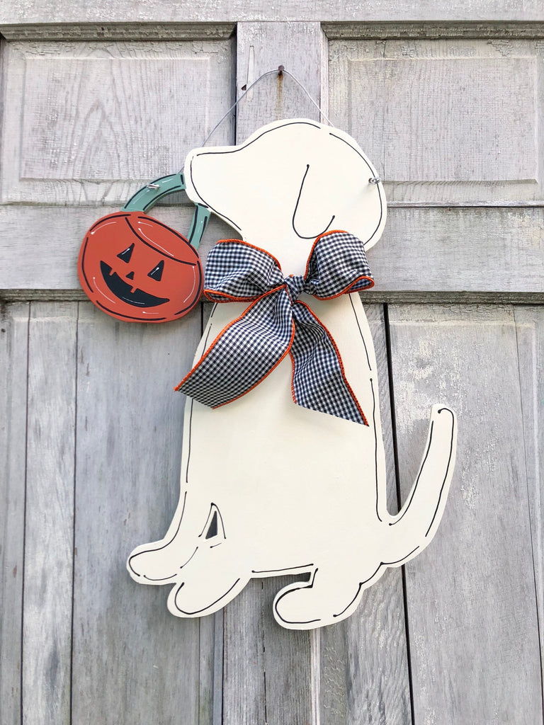 Labrador & Pumpkin Halloween Door Hanger