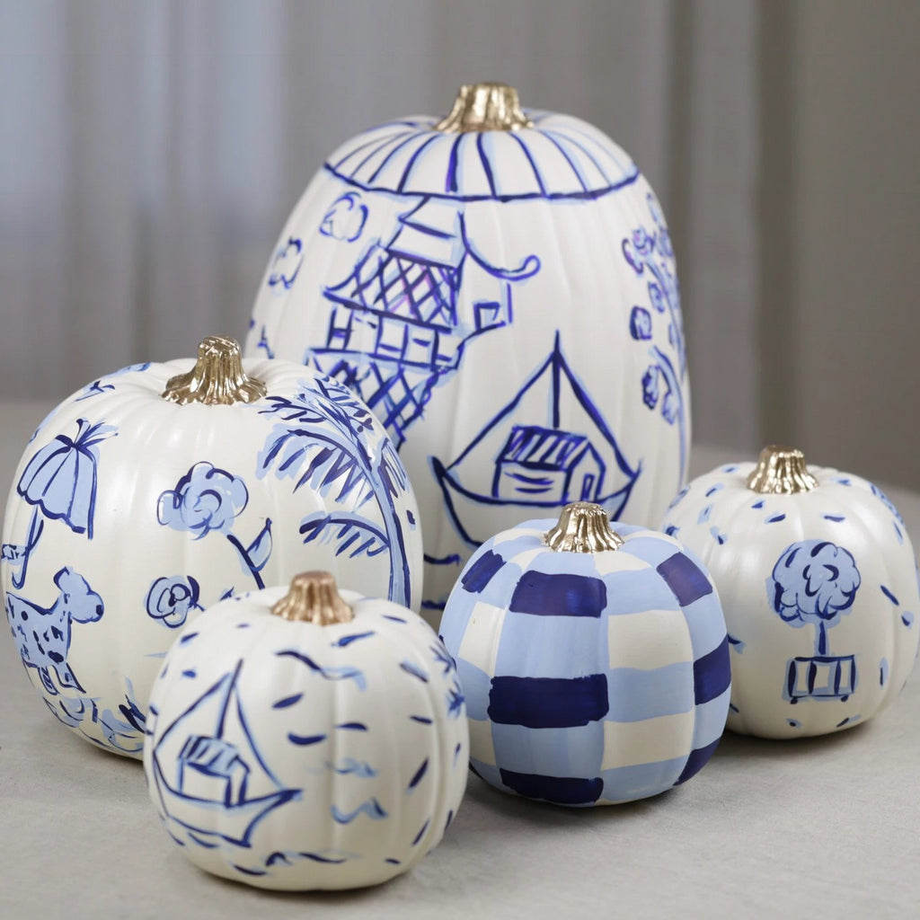 Large Faux Chinoiserie Painted Pumpkin