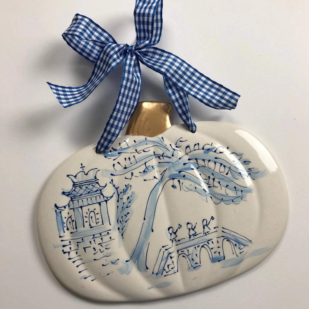 Chinoiserie Blue and White Pumpkin Plaque
