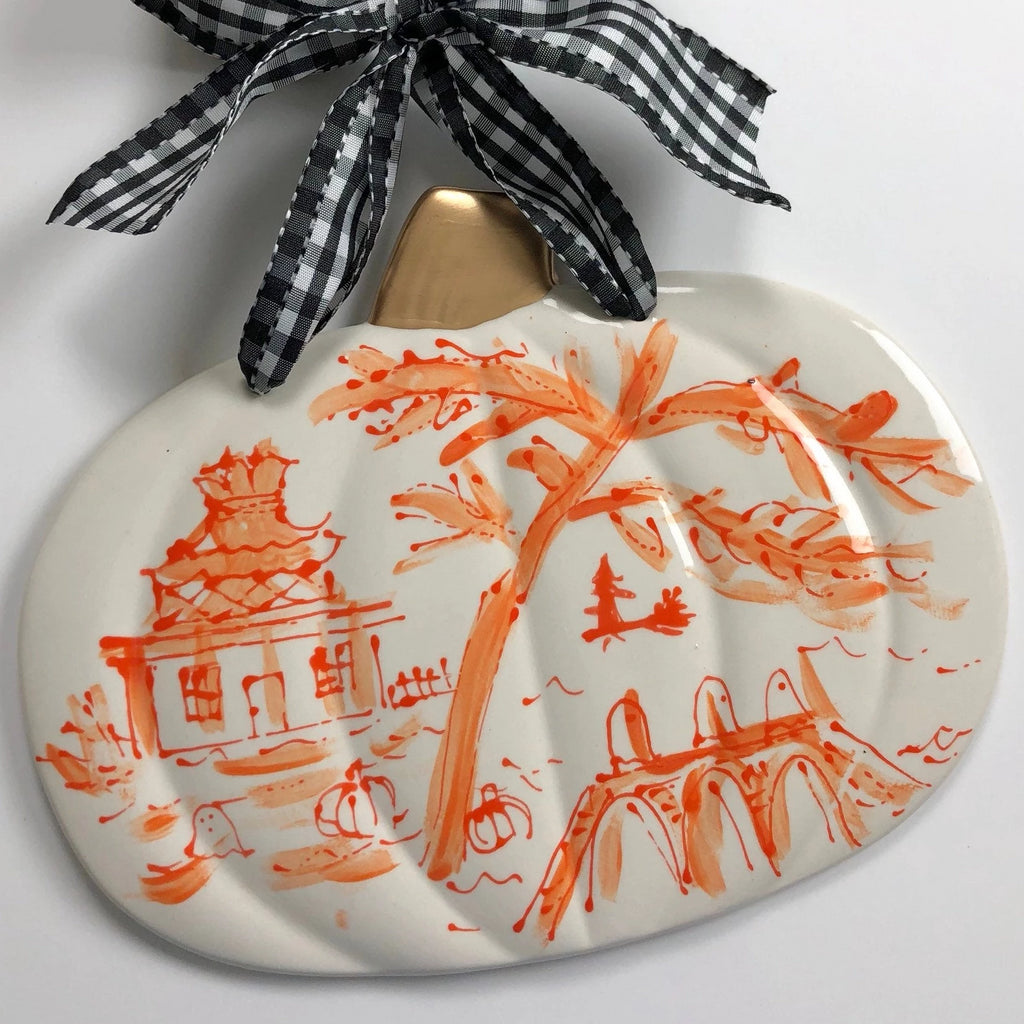 Chinoiserie Style Halloween Pumpkin Plaque