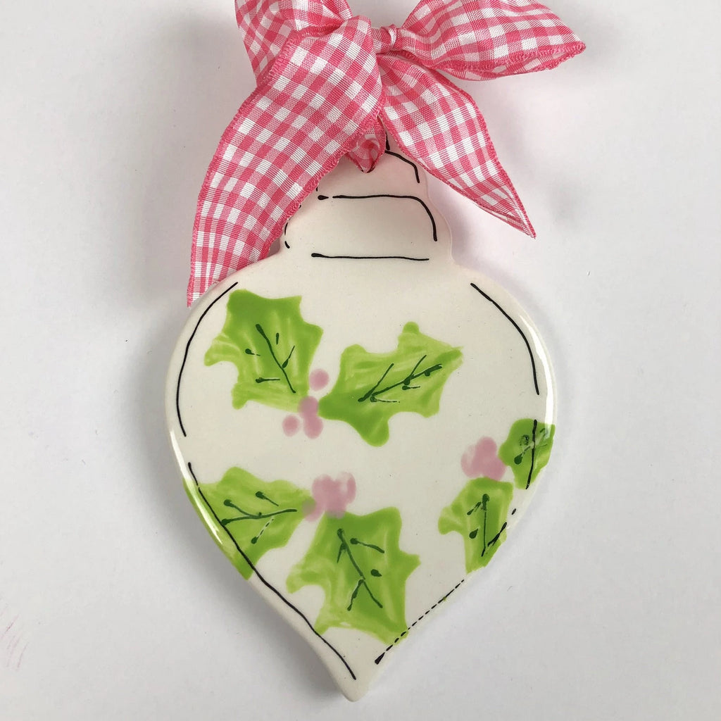 Preppy Gingham or Holly Personalized Ornament