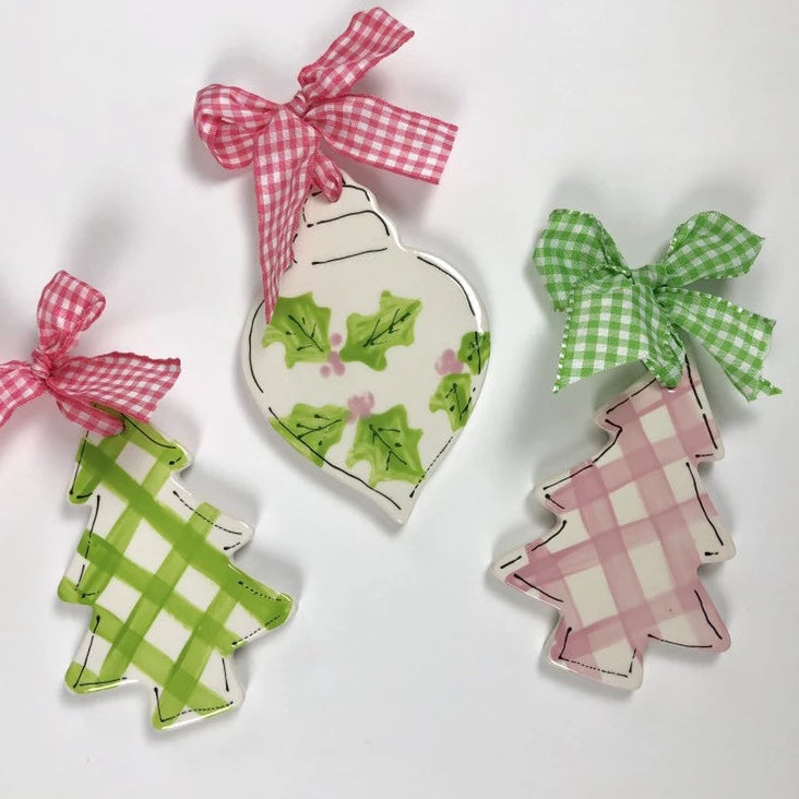 Personalized Gingham Christmas Tree Ornament
