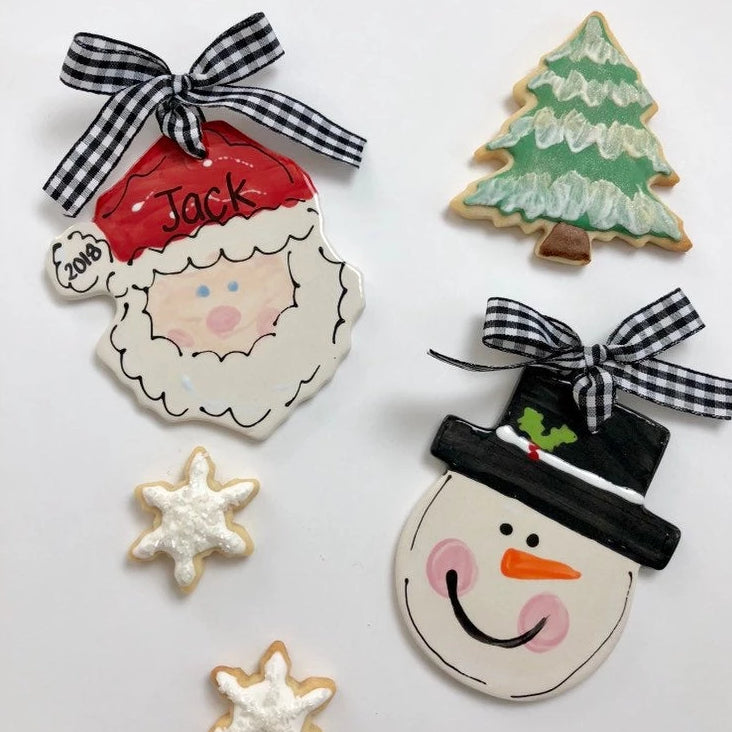 Personalized Christmas Snowman Face Ornament