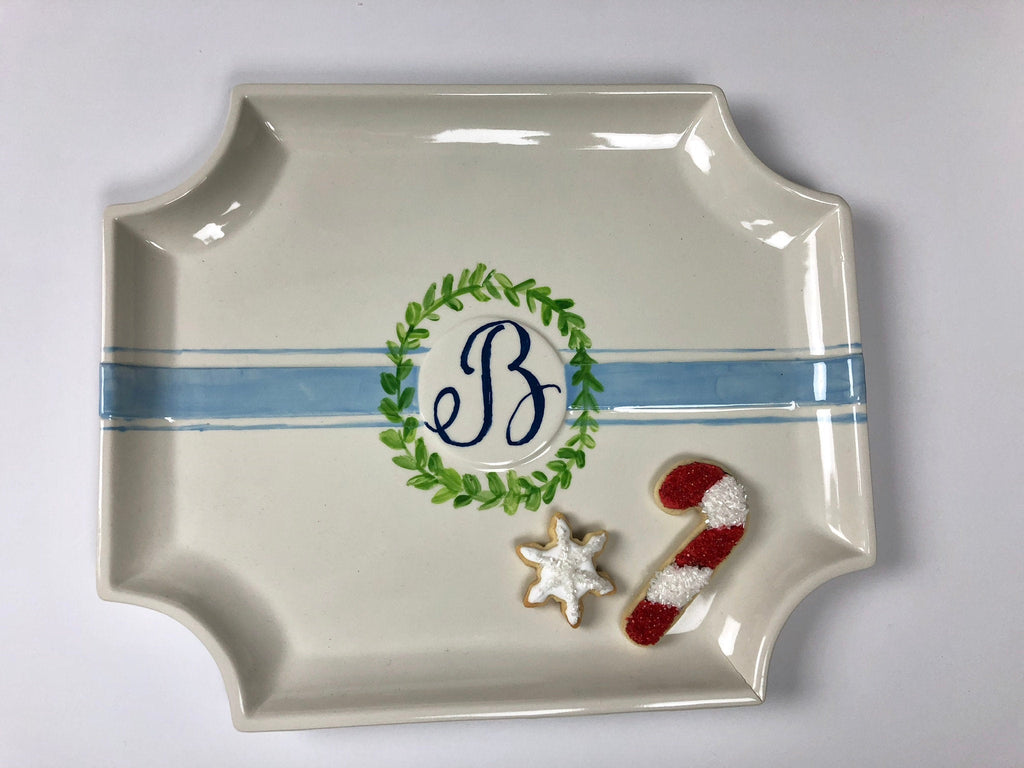 Hand Painted Monogram With Laurel Wreath Platter