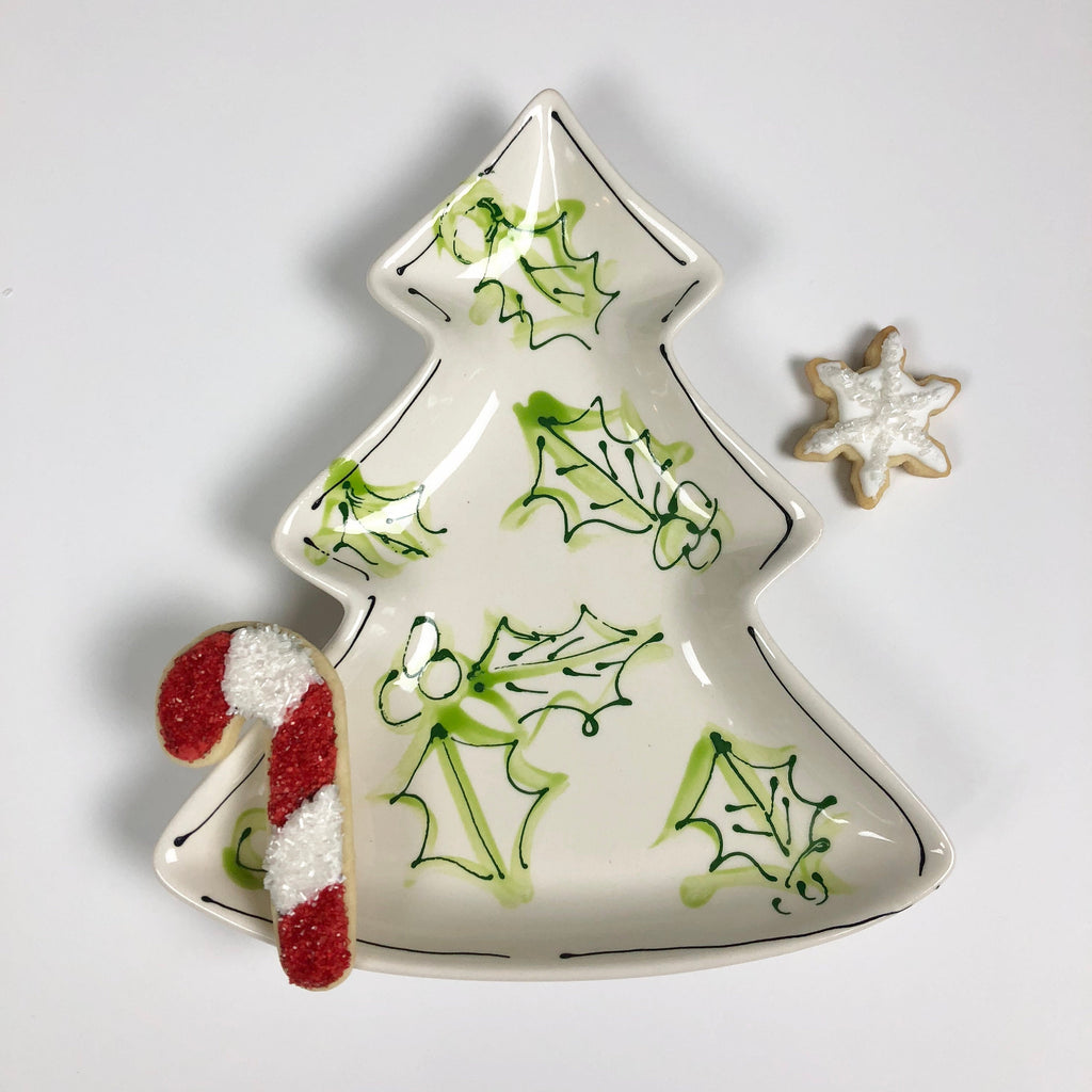 Green Toile Christmas Tree Plate