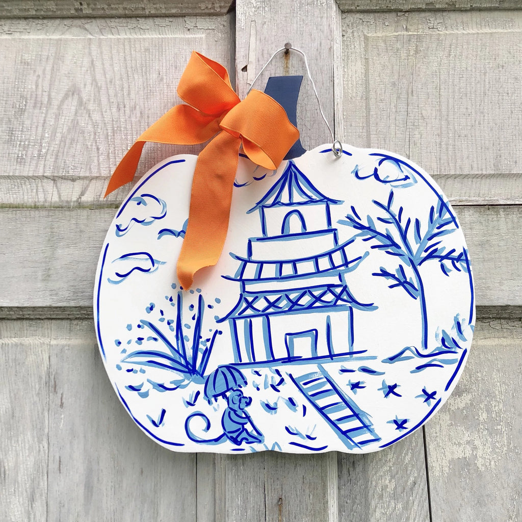Blue and White, Pagoda Pattern Pumpkin Door Hanger