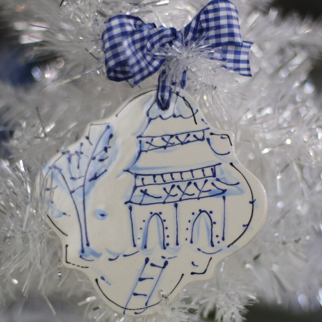 Blue Willow Quatrefoil Chinoiserie Christmas Ornament
