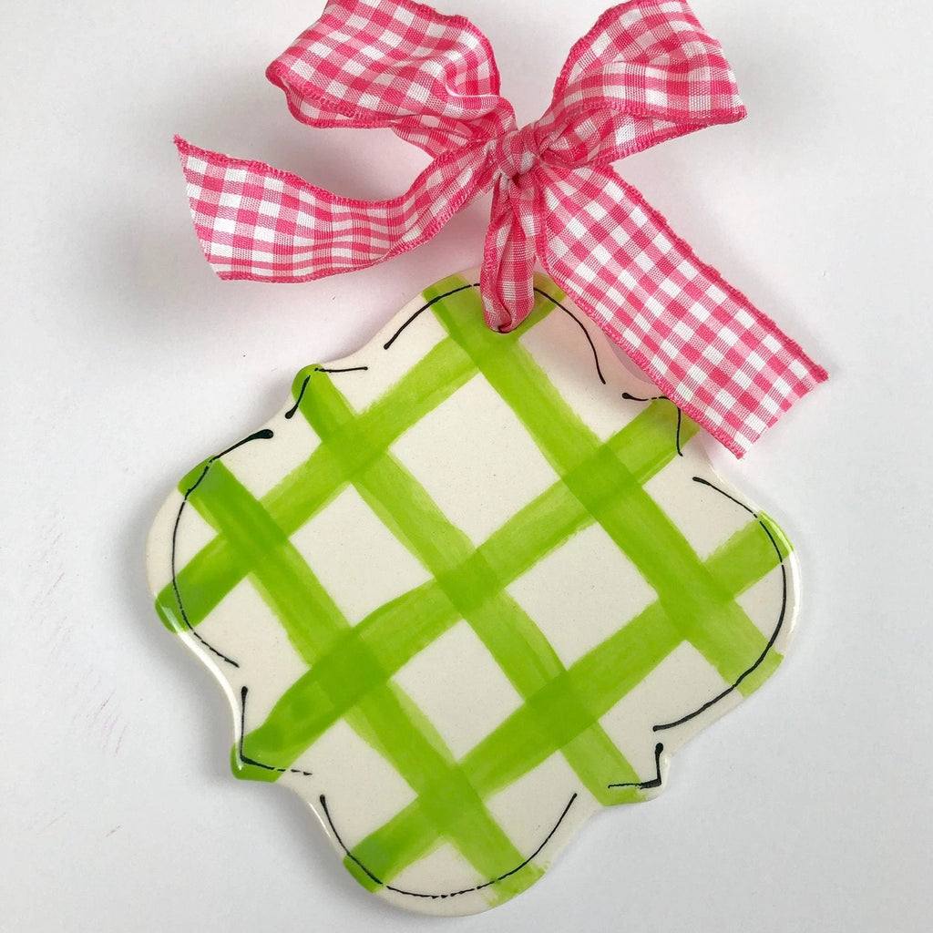 Hand Painted Preppy Gingham Quatrefoil Christmas Ornament