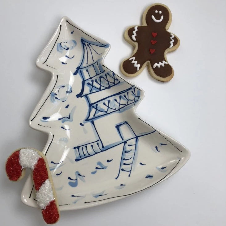 Chinoiserie Toile Christmas Tree Dish