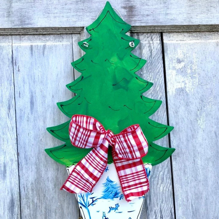 Chinoiserie Christmas Tree Door Hanger With Chinoiserie Pot