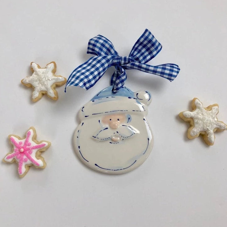 Soft Blue Santa Face Personalized Christmas Ornament
