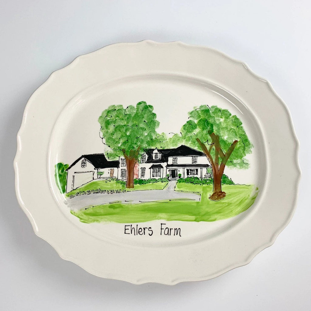 Illustrated custom home platter