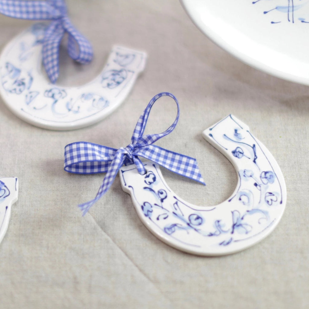 Derby Horseshoe Blue and White Ornament