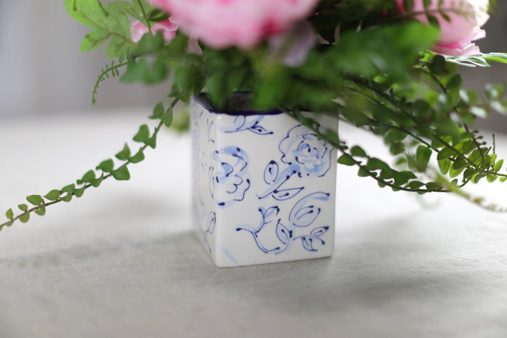 Hand Painted Square Floral Vase