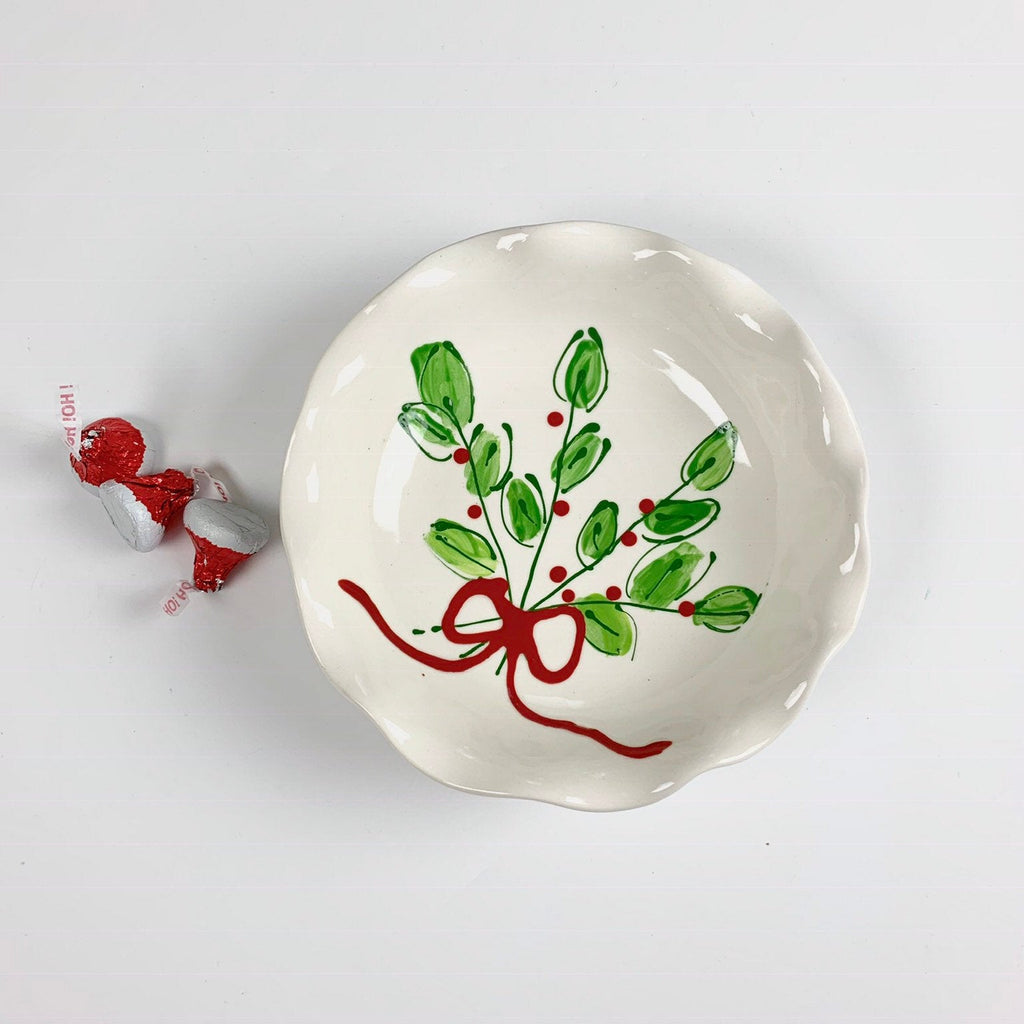 Fresh Christmas Greens Mistletoe Holiday Bowl
