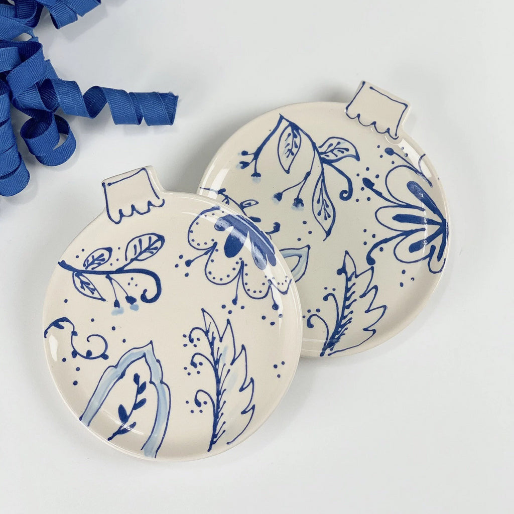 Blue and White Chinoiserie Christmas Ornament Holiday Dish