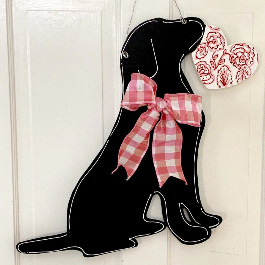 Valentines Day Labrador Heart Door Hanger