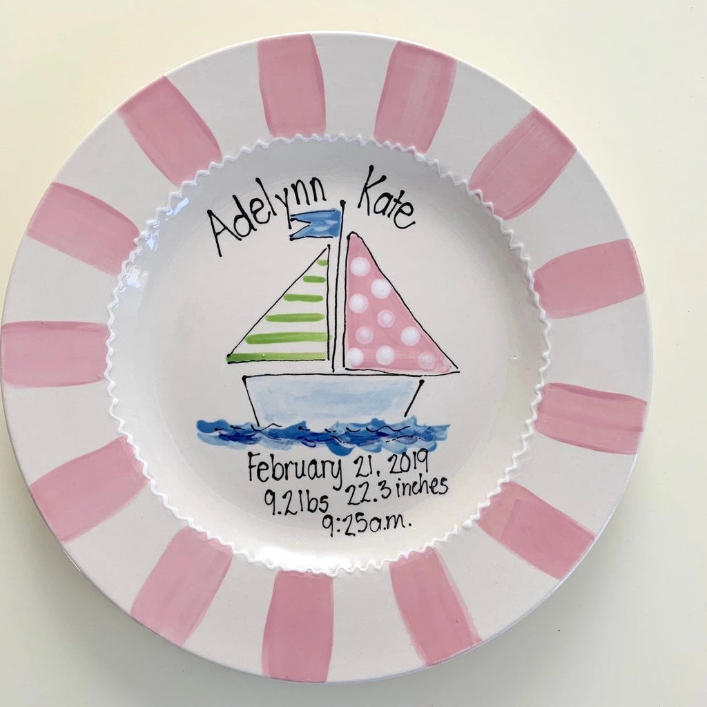 Personalized Birth Announcement Plate - Pink