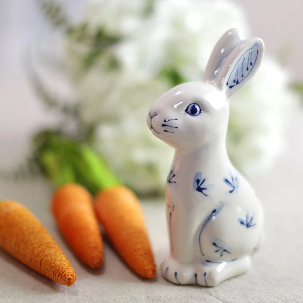 Blue and White Modern Chinoiserie Ceramic Bunny