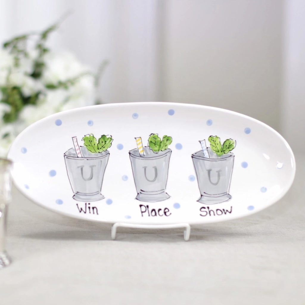Win, place, show mint julep Kentucky Derby platter