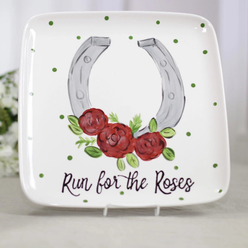 Run for the roses horseshoe and roses kentucky derby platter