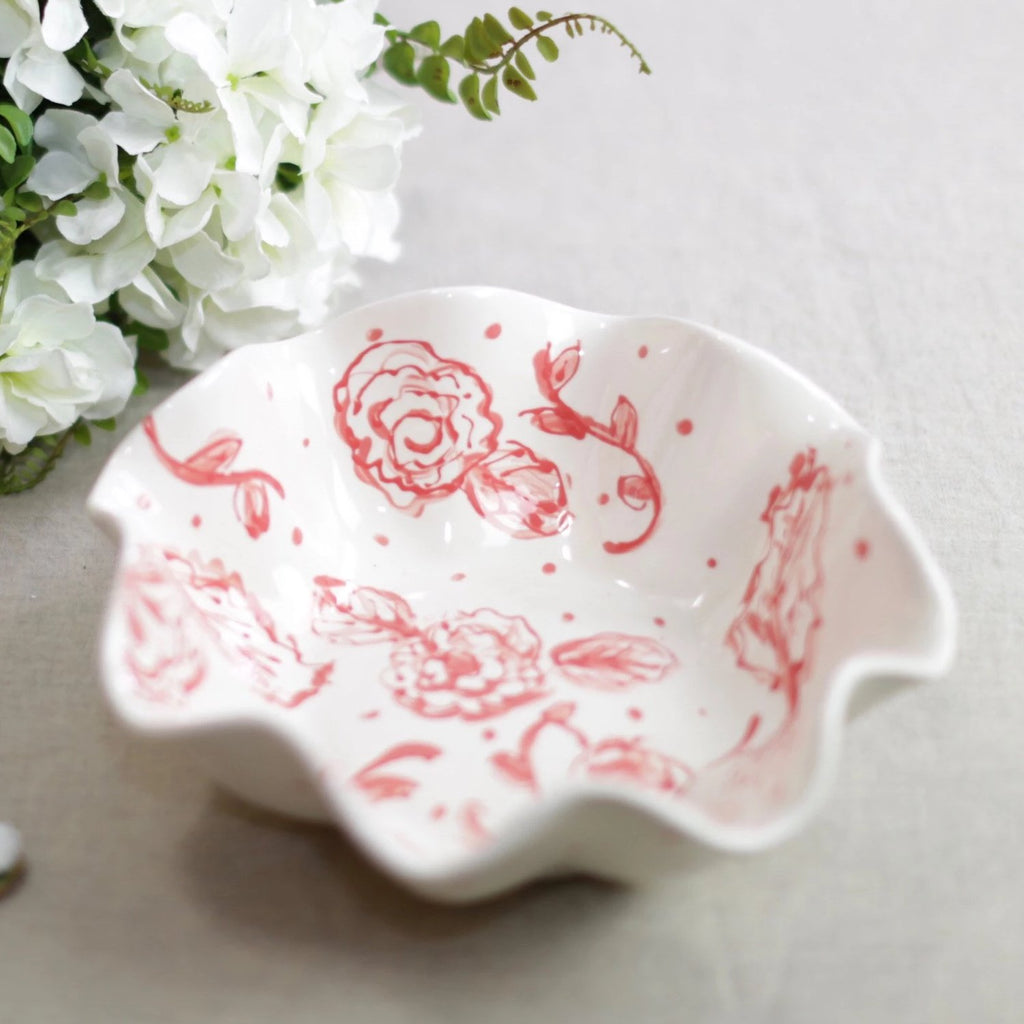 Ruffle Chinoiserie Floral Serving Bowl
