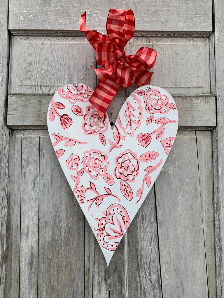 Valentine's Day Floral Heart Door Hanger
