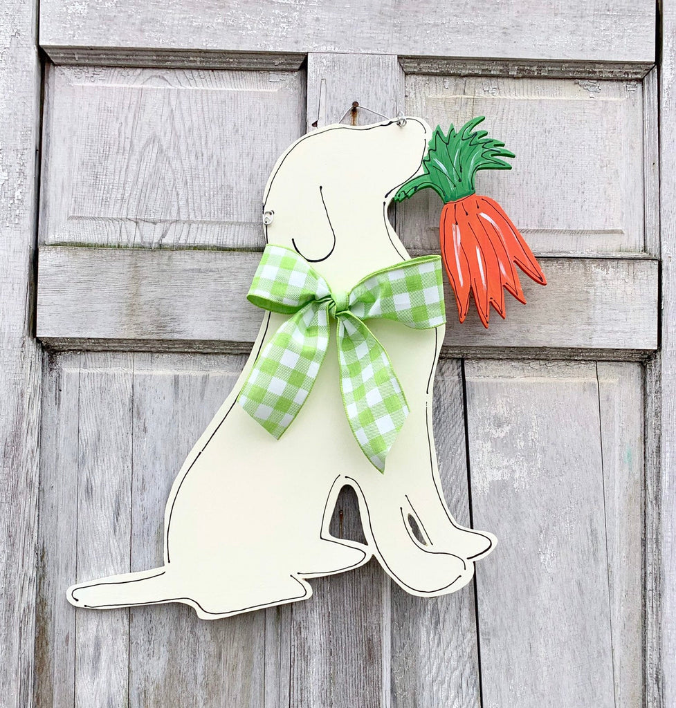 Labrador With Carrots Spring Door Hanger
