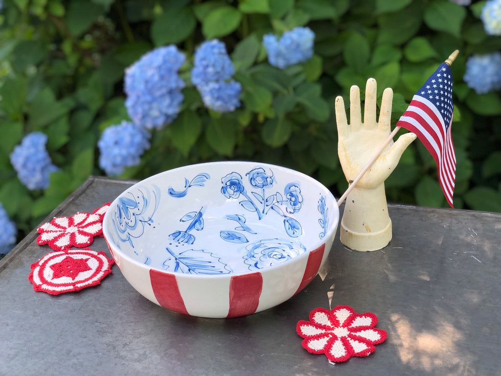 Red, Blue and White Chinoiserie Floral Bowl
