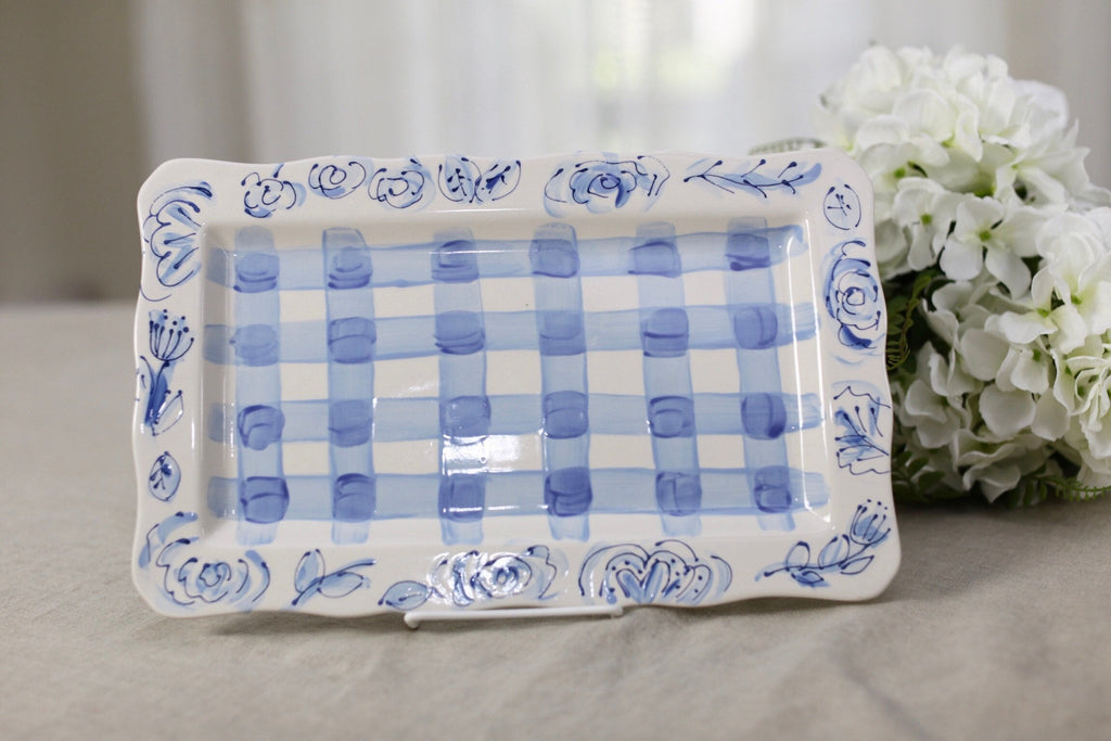 Blue and White Gingham and Floral Serving Platter