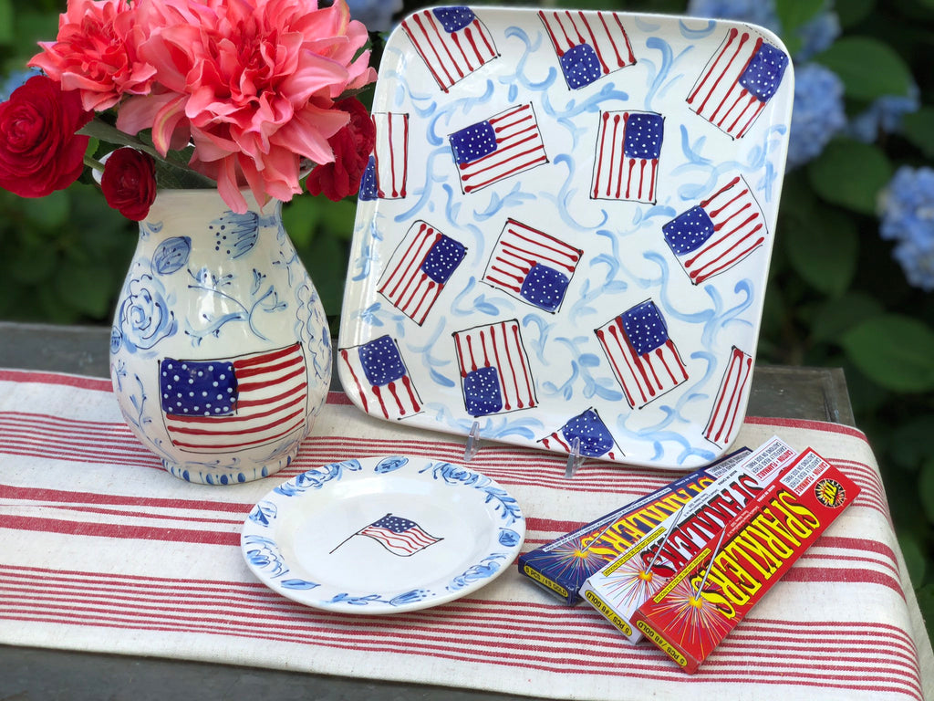 Hand Painted American Flag Platter