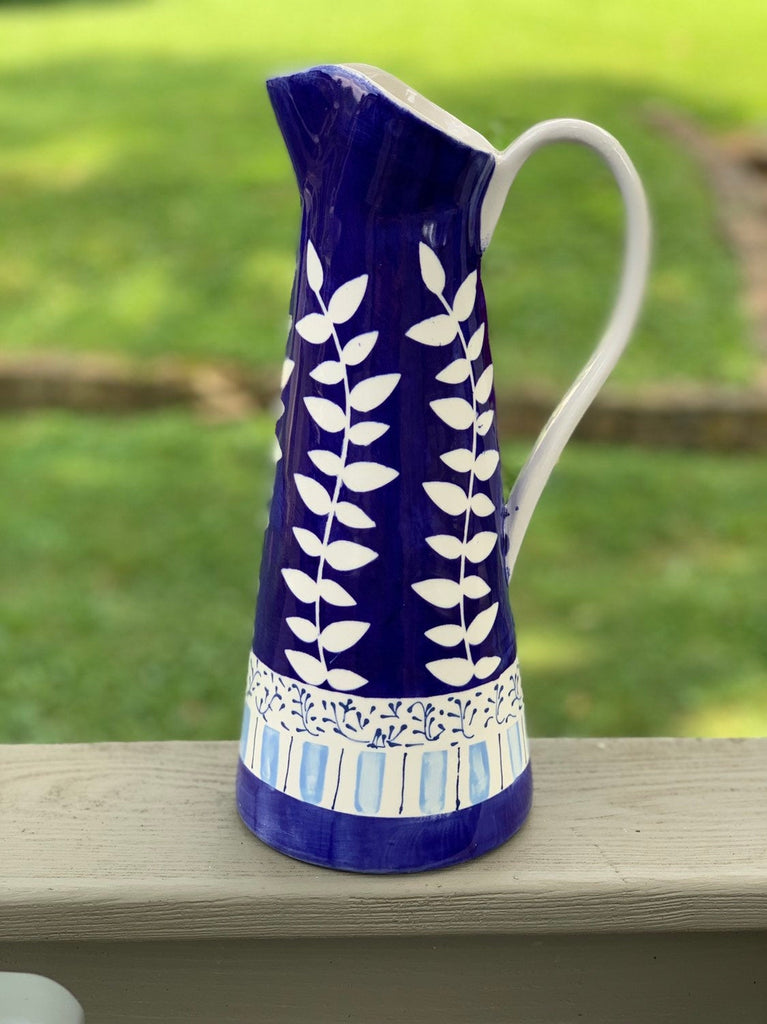 Blue and White Floral Pitcher