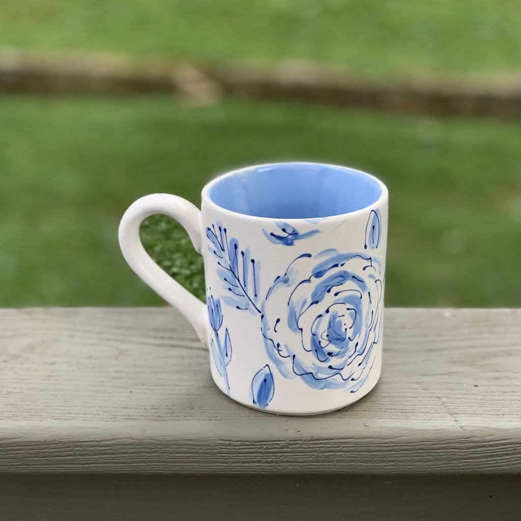 Blue Floral Chinoiserie Hand Painted Mug