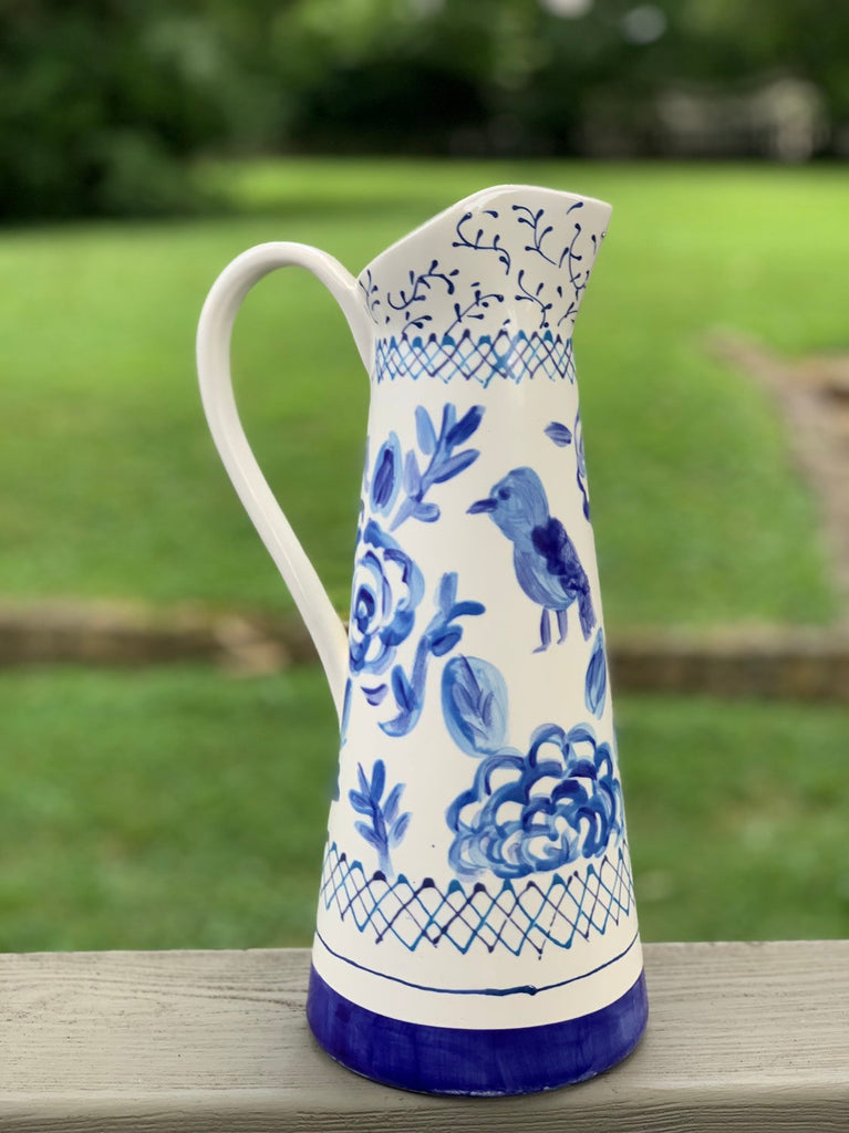 Hand painted Blue and White Floral Patterned Pitcher