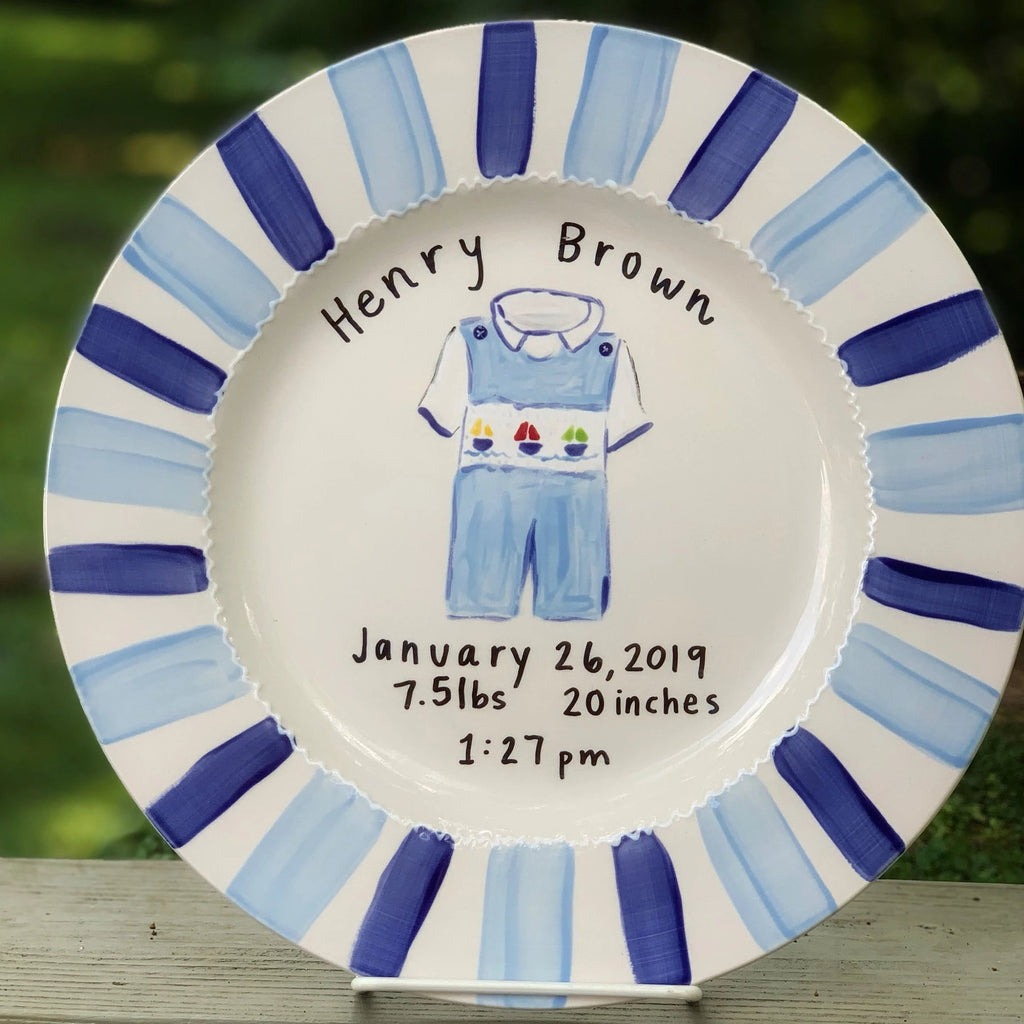 Personalized baby boy announcement plate