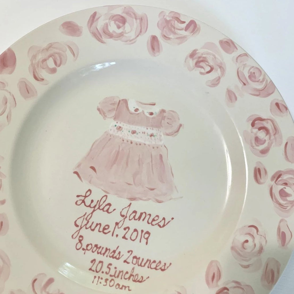 Personalized Birth Announcement Plate - Baby Girl