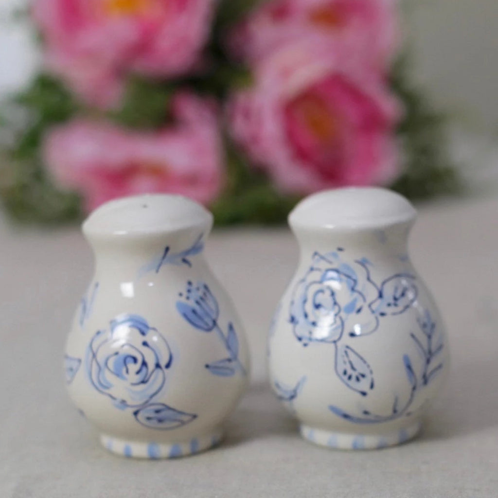 Blue and White Chinoiserie Salt and Pepper Set