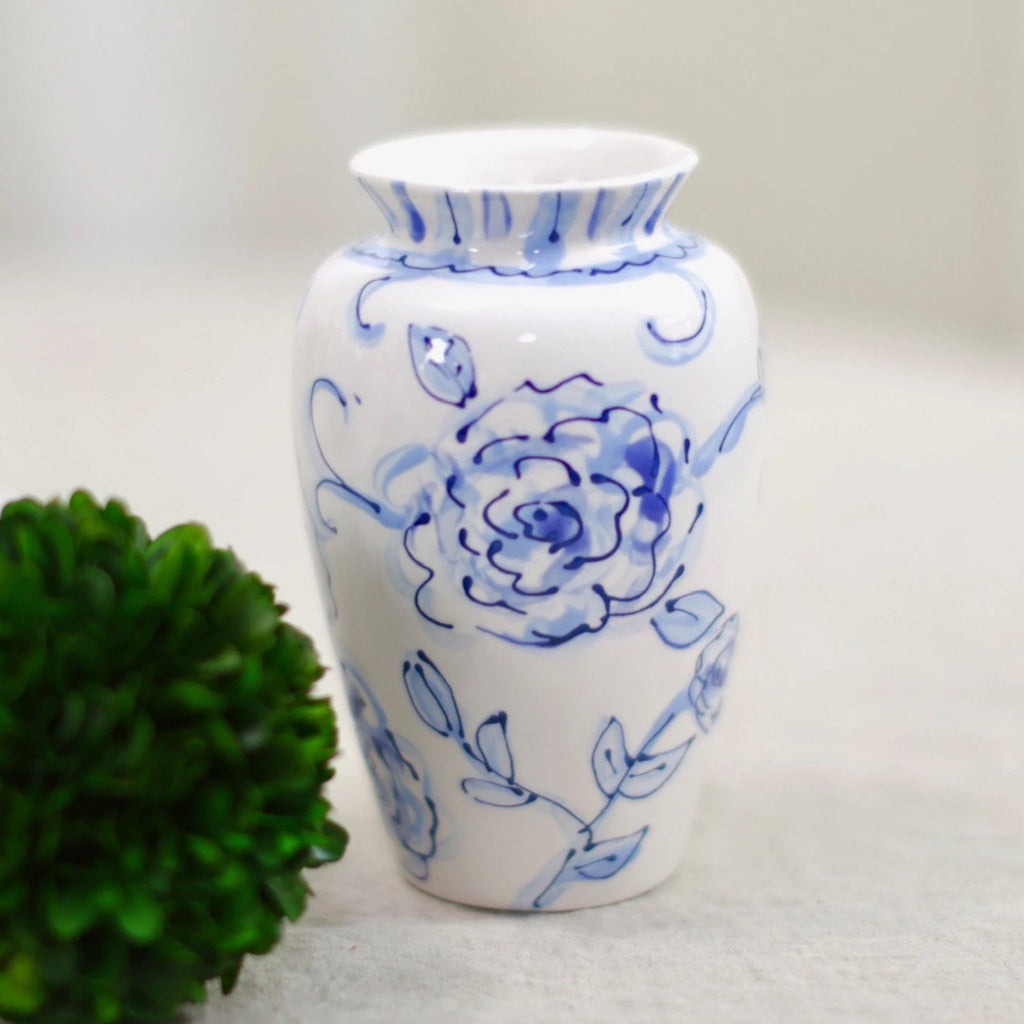 Bespoke Blue and White Chinoiserie Flower Vase