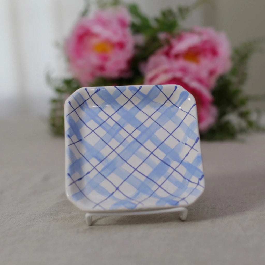 Blue Plaid Catch All Dish