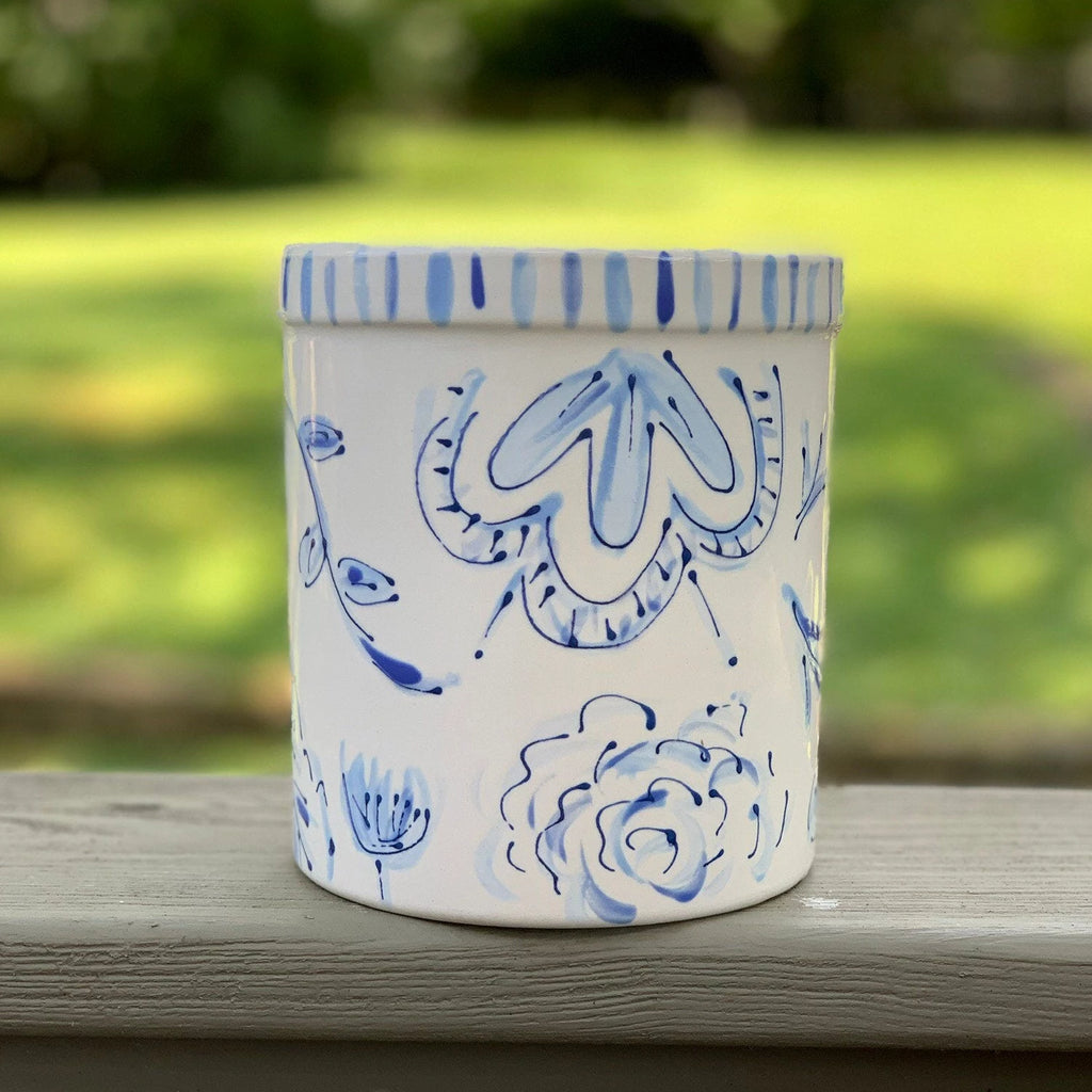 Blue and White Floral Chinoiserie Ceramic Vase